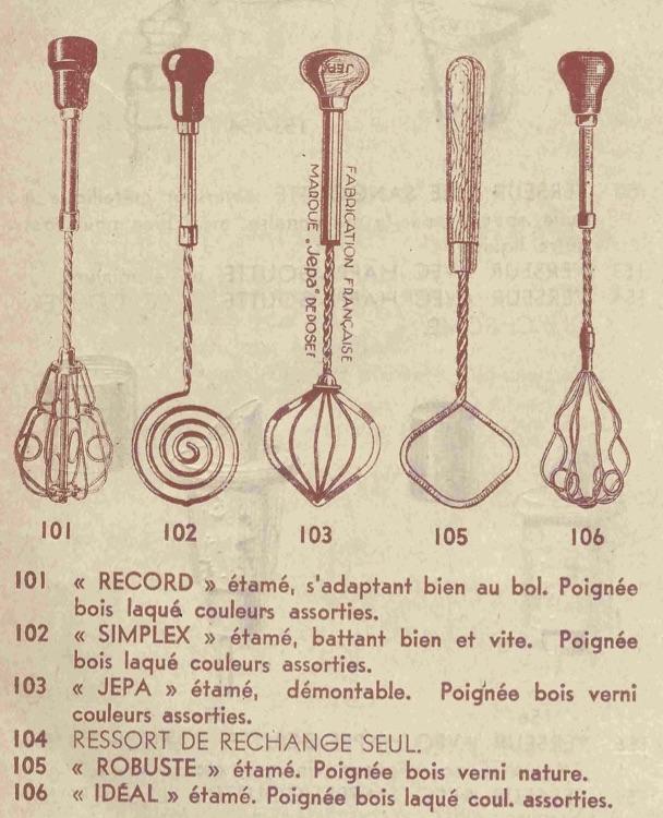 Anciens ustensiles de cuisine : année 1934