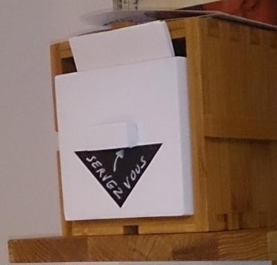 Utilisation de la boite AnJi, pour la distribution de carte de visite